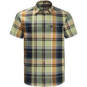 Jack Wolfskin Little Lake SS Shirt Men, light green checks